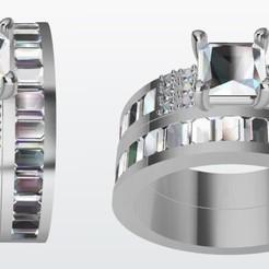 Argolla pisargolla piedras carre.jpg Download STL file Set of carton stone ring • 3D printable template, JHMPlateria