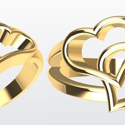 STL file Ring 2 hearts, Paco182