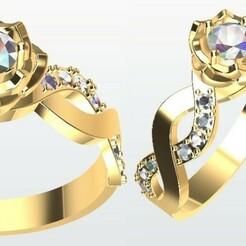 Anillo Rosa.jpg Télécharger fichier STL Anneau rose • Modèle pour imprimante 3D, JHMPlateria
