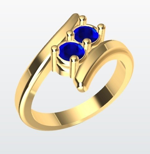 Curvo 2 piedras.jpg Download STL file Ring curved 2 stones • 3D printable model, JHMPlateria