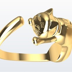 Gato.jpg Download STL file Cat Ring • 3D printing template, JHMPlateria