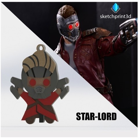 Free 3d printer designs Star Lord Key Chain, sketchprint3d