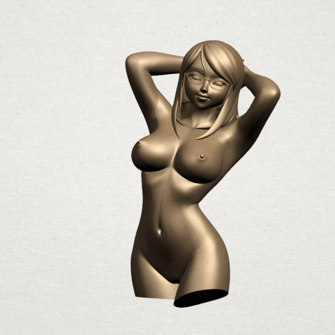 Naked Girl - half body A01.png Download free STL file Naked Girl 01- half body • 3D printing template, GeorgesNikkei