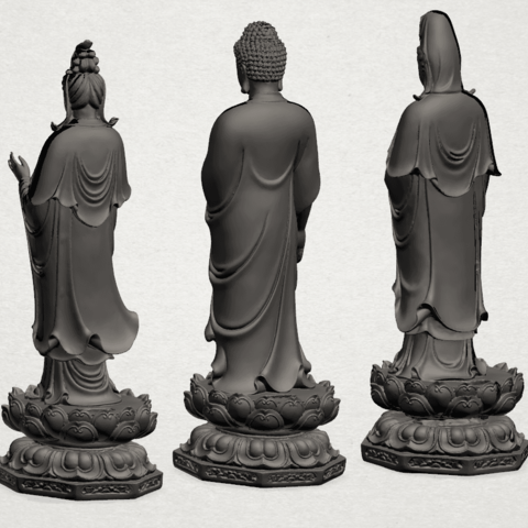 Three Buddha 80mm - B05.png Download free STL file Three Buddha  -TOP MODEL • 3D printable template, GeorgesNikkei