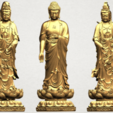 Three Buddha 80mm - A01.png Download free STL file Three Buddha  -TOP MODEL • 3D printable template, GeorgesNikkei
