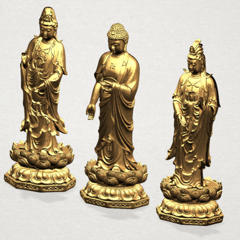 Three Buddha 80mm - A03.png Download free STL file Three Buddha  -TOP MODEL • 3D printable template, GeorgesNikkei