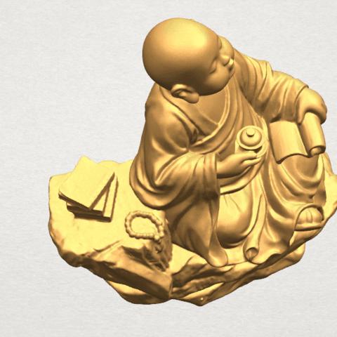 TDA0558 Little Monk Drink Tea A09.png Télécharger fichier STL gratuit Boire du thé Little Monk Drink Tea • Design à imprimer en 3D, GeorgesNikkei