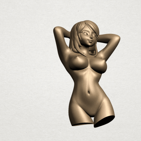 Naked Girl - half body A08.png Download free STL file Naked Girl 01- half body • 3D printing template, GeorgesNikkei