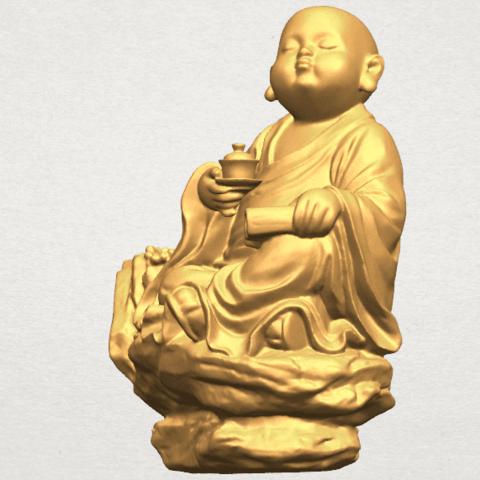 TDA0558 Little Monk Drink Tea A03.png Télécharger fichier STL gratuit Boire du thé Little Monk Drink Tea • Design à imprimer en 3D, GeorgesNikkei
