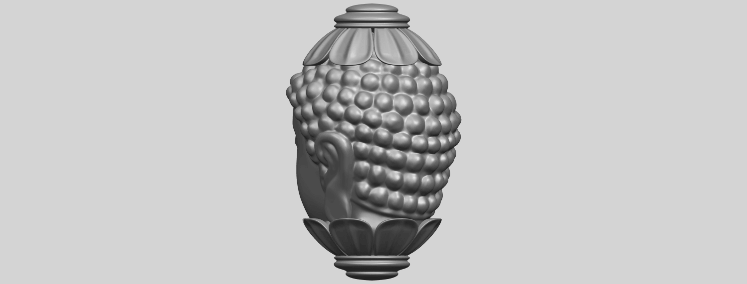 11_Buddha_Head_Sculpture_80mmA05.png Download free STL file Buddha - Head Sculpture • 3D printing model, GeorgesNikkei
