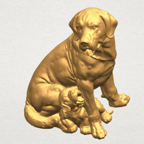 TDA0526 Dog and Puppy A08.png Download free STL file Dog and Puppy 01 • Model to 3D print, GeorgesNikkei