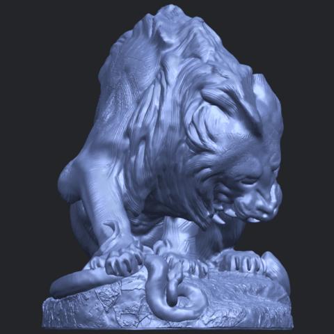16_Lion_(iii)_with_snake_60mm-B09.png Télécharger fichier STL gratuit Lion 03 - avec serpent • Modèle imprimable en 3D, GeorgesNikkei