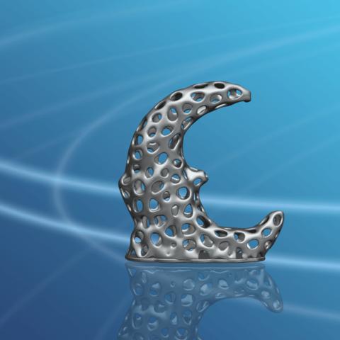 Voronoi Moon -03.png Download free STL file Voronoi Moon • Design to 3D print, GeorgesNikkei