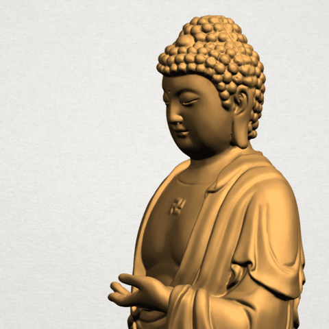 Gautama Buddha (stand)-80mm-A03.png Télécharger fichier STL gratuit Gautama Bouddha - Debout 01 • Plan pour impression 3D, GeorgesNikkei