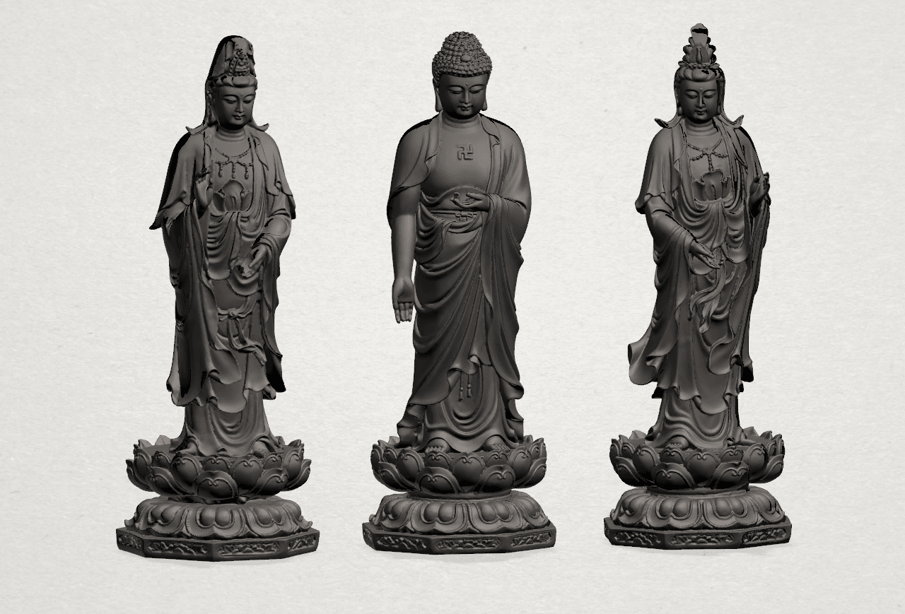 Three Buddha 80mm - B03.png Download free STL file Three Buddha  -TOP MODEL • 3D printable template, GeorgesNikkei