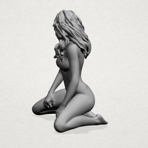 Naked girl - bended knees (II)-A02.png Download free STL file Naked girl - Bended Knees 02 -TOP MODEL • 3D printing object, GeorgesNikkei