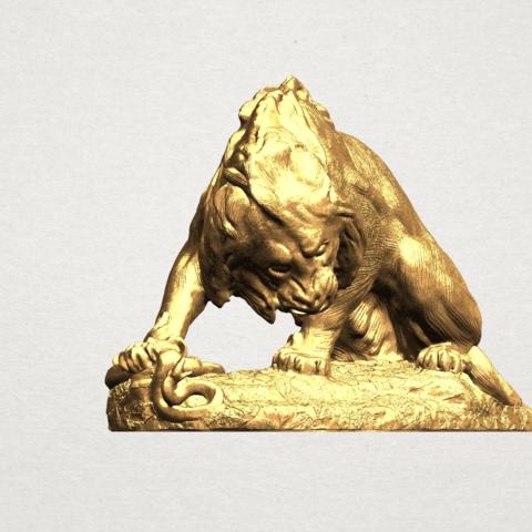 Lion (iii) - with snake A06.png Télécharger fichier STL gratuit Lion 03 - avec serpent • Modèle imprimable en 3D, GeorgesNikkei