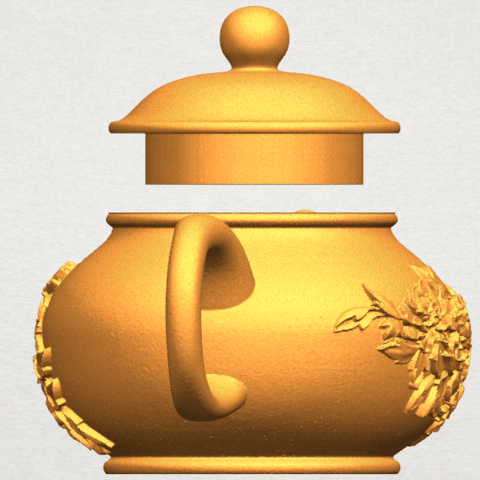 TDA0324 Tea Pot (iii)- Body and Cap A03.png Download free STL file Tea Pot 03 • 3D printing template, GeorgesNikkei
