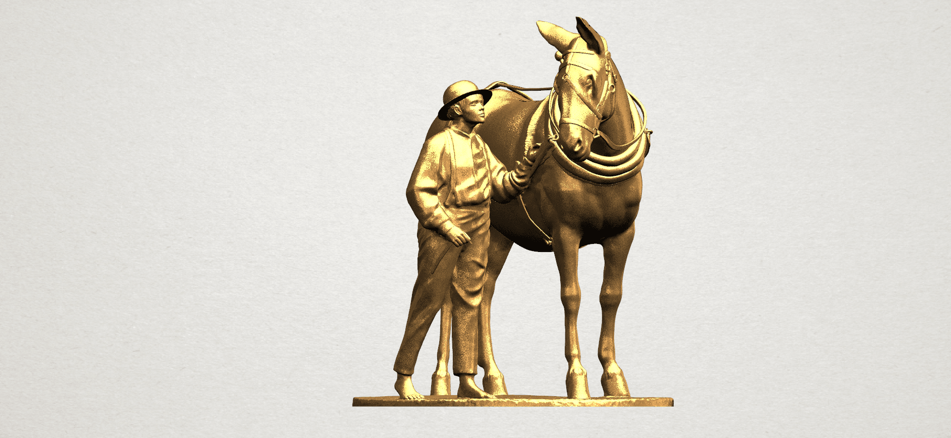 Horse with Man (i) - A10.png Télécharger fichier STL gratuit Cheval avec Man 01 • Objet à imprimer en 3D, GeorgesNikkei