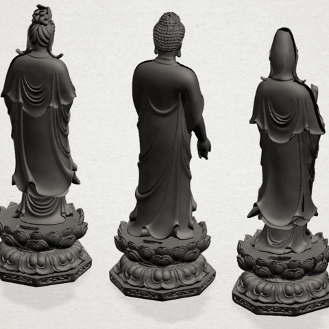 Three Buddha 80mm - B04.png Download free STL file Three Buddha  -TOP MODEL • 3D printable template, GeorgesNikkei