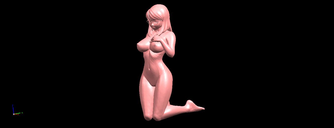 02.png Download free STL file Naked Girl - Bended Knees 01 • 3D printable model, GeorgesNikkei
