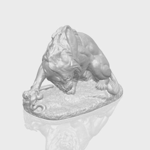16_Lion_(iii)_with_snake_60mm-A00-1.png Télécharger fichier STL gratuit Lion 03 - avec serpent • Modèle imprimable en 3D, GeorgesNikkei