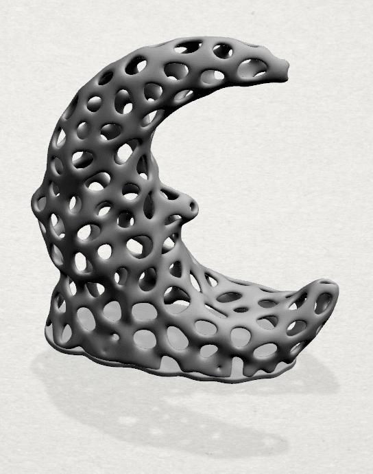 Voronoi Moon - A02 - 000.png Télécharger fichier STL gratuit Lune Voronoi • Modèle pour impression 3D, GeorgesNikkei