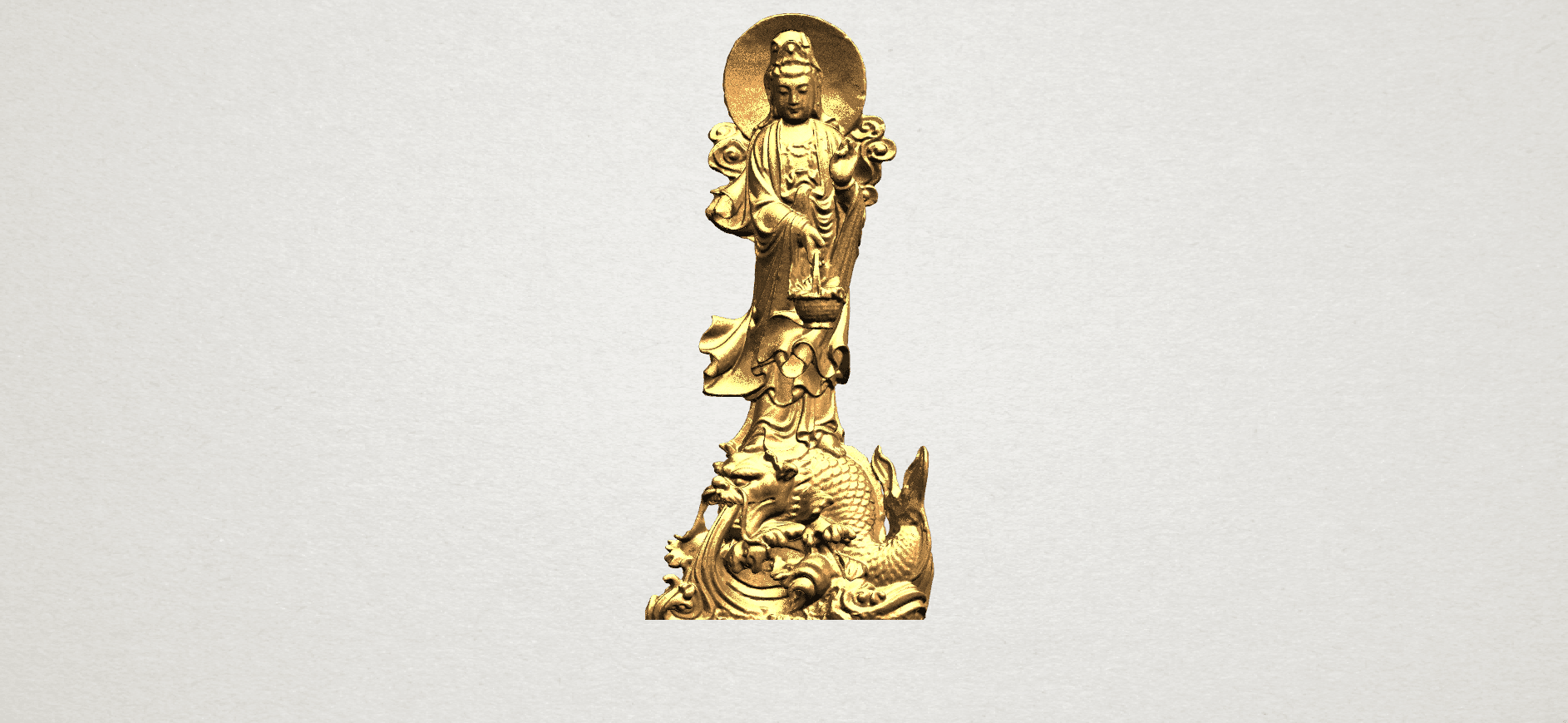 Avalokitesvara Buddha  (with fish) (ii) A01.png Download free STL file Avalokitesvara Bodhisattva (with fish) 02 • 3D printer template, GeorgesNikkei