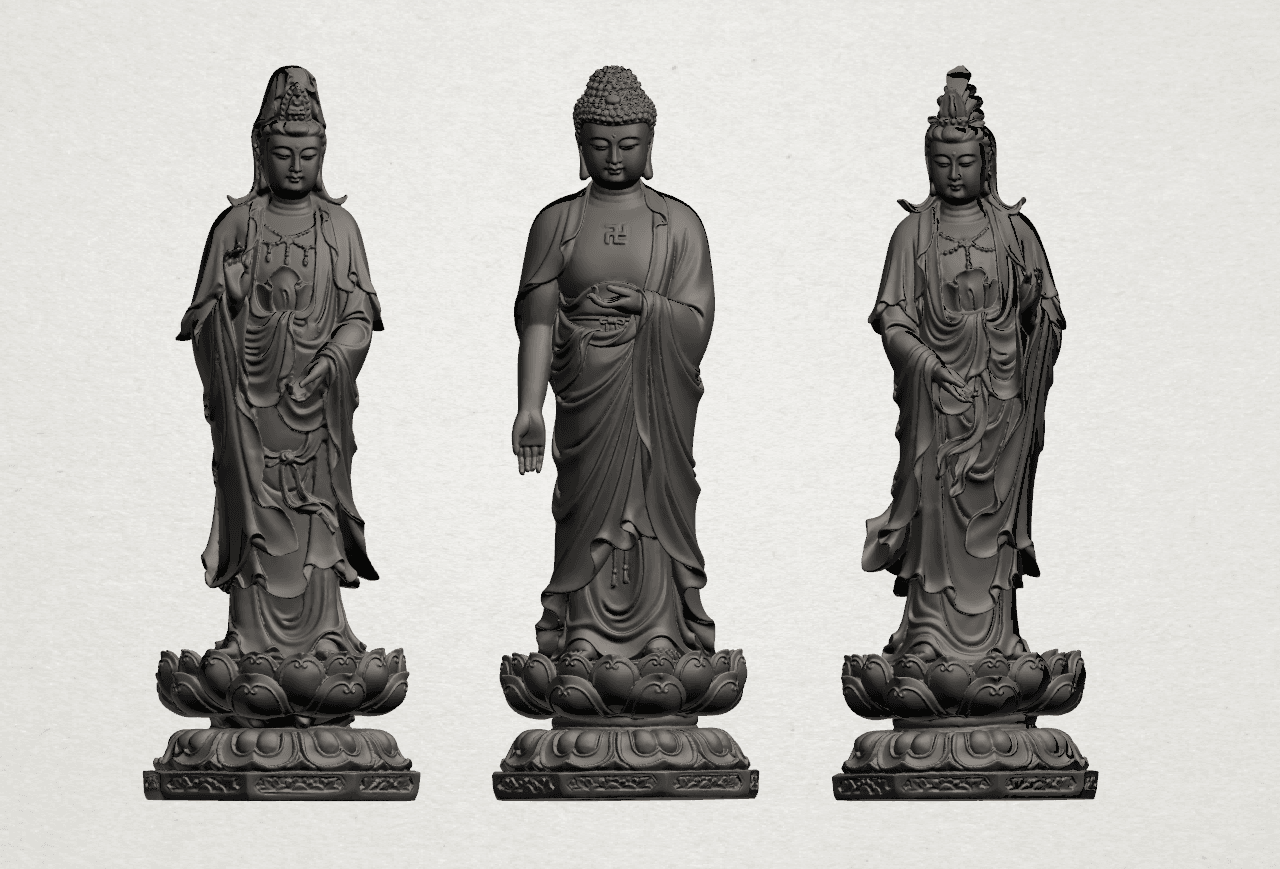 Three Buddha 80mm - B01.png Download free STL file Three Buddha  -TOP MODEL • 3D printable template, GeorgesNikkei