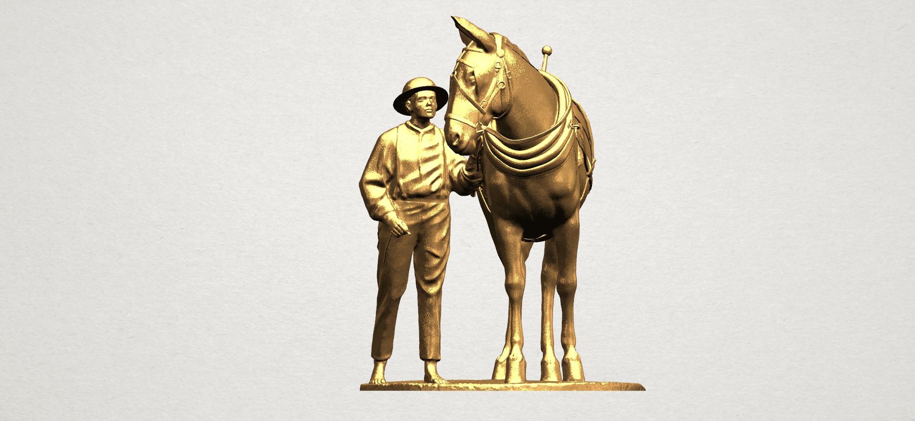 Horse with Man (i) - A01.png Télécharger fichier STL gratuit Cheval avec Man 01 • Objet à imprimer en 3D, GeorgesNikkei