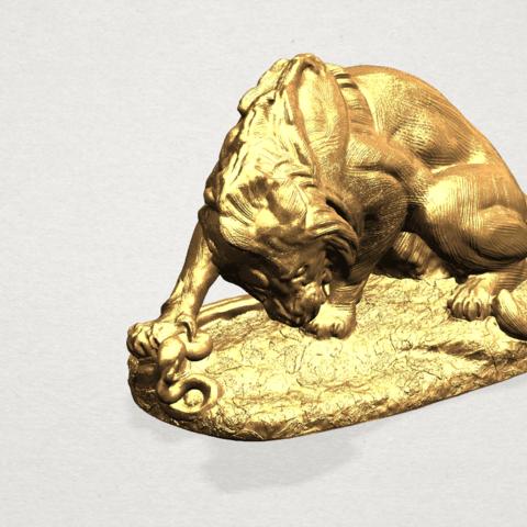Lion (iii) - with snake A07.png Télécharger fichier STL gratuit Lion 03 - avec serpent • Modèle imprimable en 3D, GeorgesNikkei
