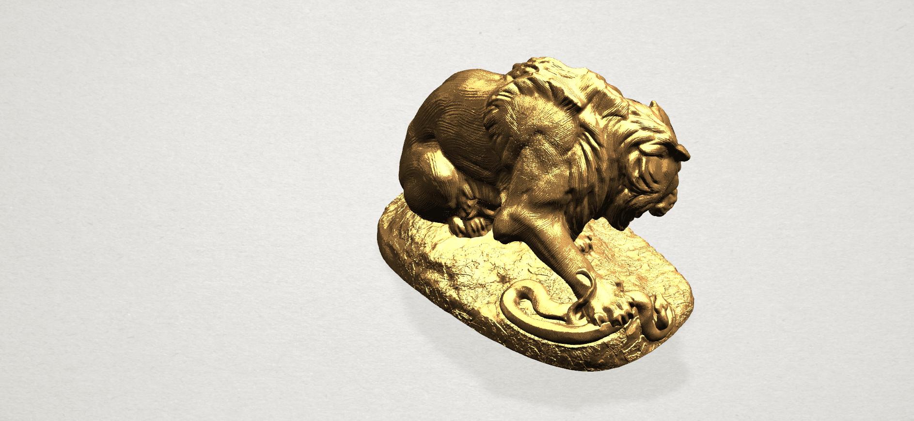 Lion (iii) - with snake A08.png Télécharger fichier STL gratuit Lion 03 - avec serpent • Modèle imprimable en 3D, GeorgesNikkei