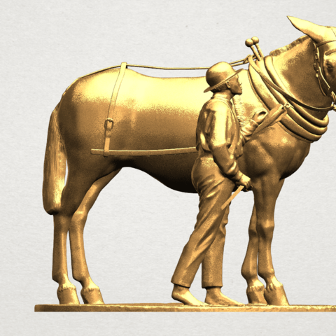 Horse with Man (i) - A08.png Télécharger fichier STL gratuit Cheval avec Man 01 • Objet à imprimer en 3D, GeorgesNikkei