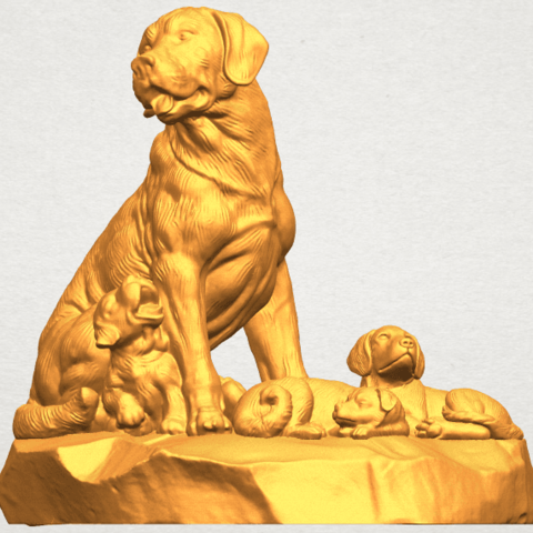 A09.png Download free STL file Dog and Puppy 02 • 3D print design, GeorgesNikkei