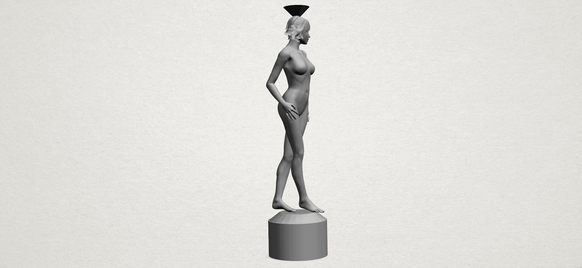 Naked girl-vase-A06.png Download free STL file Naked Girl with Vase on Top (i) • 3D print template, GeorgesNikkei