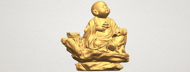 TDA0558 Little Monk Drink Tea A01.png Télécharger fichier STL gratuit Boire du thé Little Monk Drink Tea • Design à imprimer en 3D, GeorgesNikkei