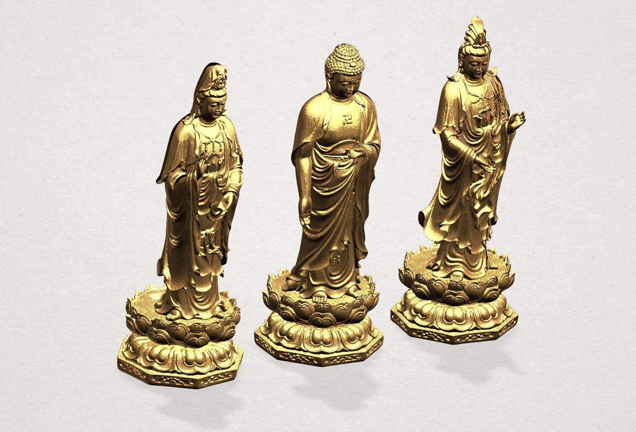 Three Buddha 80mm - A02.png Download free STL file Three Buddha  -TOP MODEL • 3D printable template, GeorgesNikkei