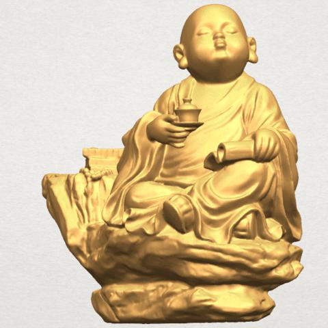 TDA0558 Little Monk Drink Tea A02.png Télécharger fichier STL gratuit Boire du thé Little Monk Drink Tea • Design à imprimer en 3D, GeorgesNikkei