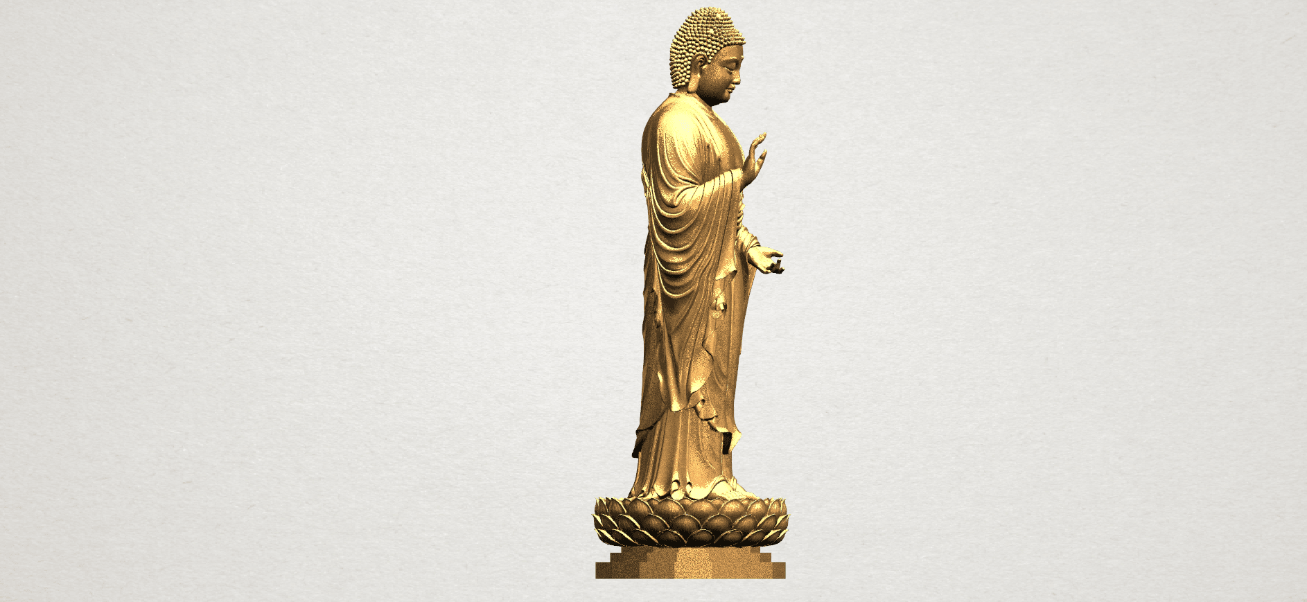 Gautama Buddha Standing (ii) A07.png Download free STL file Gautama Buddha Standing 02 • 3D printer design, GeorgesNikkei