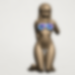 Free 3d printer designs Naked Girl - Bended Knees 01, GeorgesNikkei