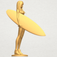 TDA0590 Girl surfing board 02 A08.png Download free STL file Girl surfing board 02 • 3D printable object, GeorgesNikkei