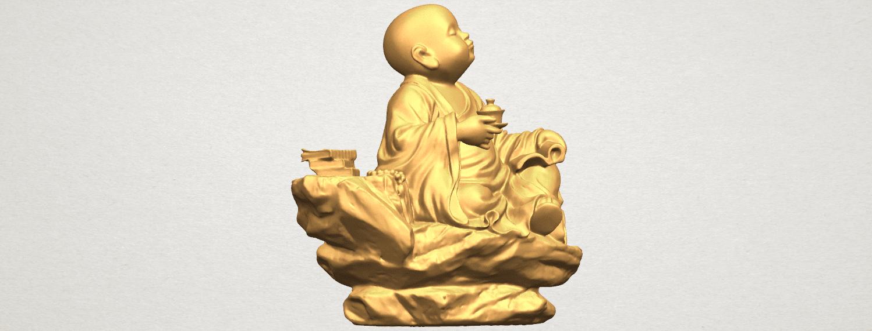 TDA0558 Little Monk Drink Tea A08.png Télécharger fichier STL gratuit Boire du thé Little Monk Drink Tea • Design à imprimer en 3D, GeorgesNikkei