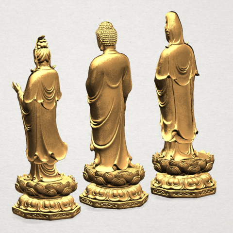 Three Buddha 80mm - A04.png Download free STL file Three Buddha  -TOP MODEL • 3D printable template, GeorgesNikkei