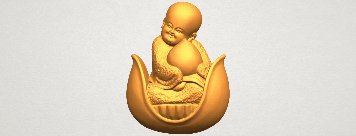 A01.png Download free STL file Little Monk 03 • 3D print template, GeorgesNikkei