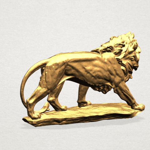 Lion (ii) -50mm-B03.png Télécharger fichier STL gratuit Lion 02 • Design pour impression 3D, GeorgesNikkei