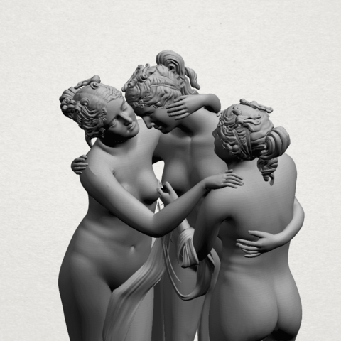 Sculpture of Three Grace (i) -A06.png Download free STL file Sculpture of Three Grace 01 • 3D printer template, GeorgesNikkei