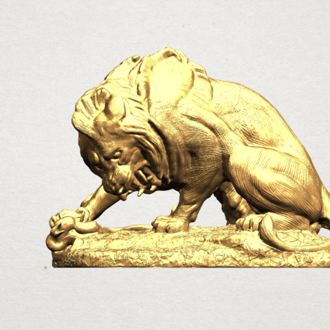 Lion (iii) - with snake A01.png Télécharger fichier STL gratuit Lion 03 - avec serpent • Modèle imprimable en 3D, GeorgesNikkei