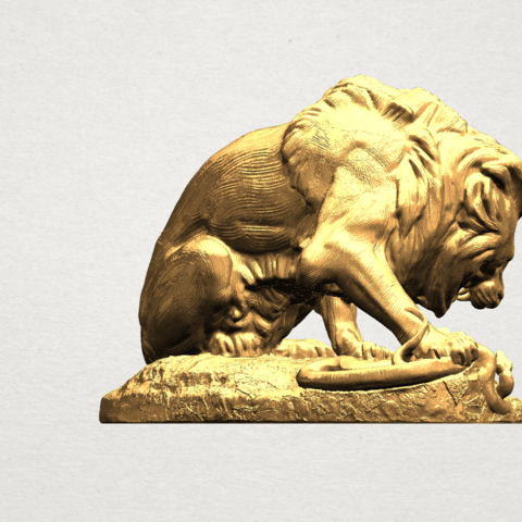 Lion (iii) - with snake A04.png Télécharger fichier STL gratuit Lion 03 - avec serpent • Modèle imprimable en 3D, GeorgesNikkei