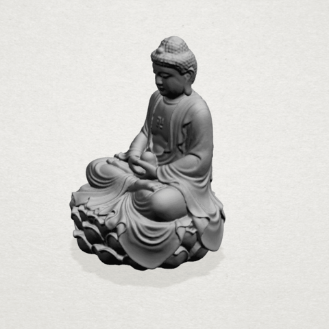 Gautama Buddha -A03.png Télécharger fichier STL gratuit Gautama Bouddha 01 • Plan pour impression 3D, GeorgesNikkei