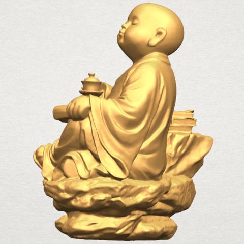 TDA0558 Little Monk Drink Tea A04.png Télécharger fichier STL gratuit Boire du thé Little Monk Drink Tea • Design à imprimer en 3D, GeorgesNikkei